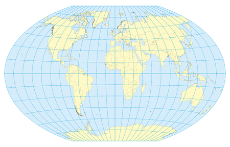 Very high detailed map of the world in Winkel Tripel projection with graticule. Centered in Europe and Africa.