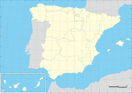 Vector map of Spain with their autonomous communities with graticule. Ilustração