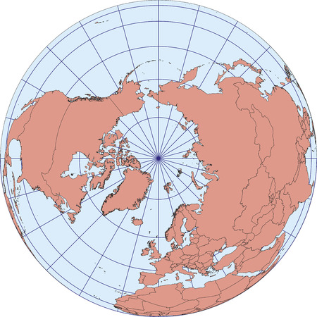 Mappa del mondo centrata sul Polo Nord. Proiezione ortografica con reticolo. mappa vettoriale Vettoriali