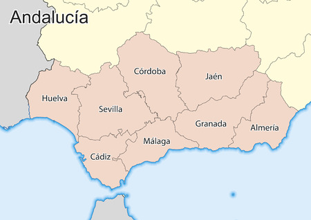 Vector map of the autonomous community of Andalusia. Spain.