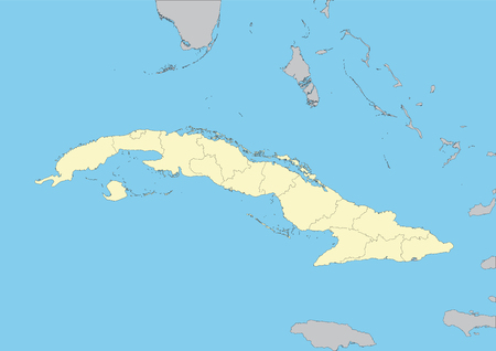 High detailed vector map of Cuba with provinces. File easy to edit and apply. Elements of this image furnished by NASA