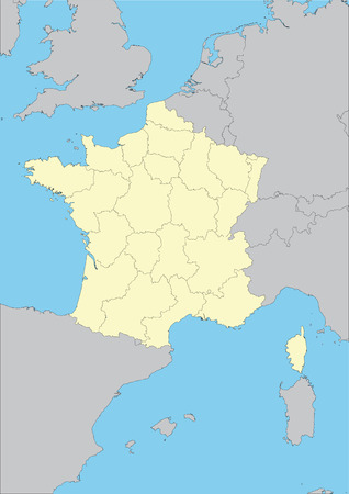 Vector map of France and their regions. File easy to edit and apply. Elements of this image furnished by NASA.