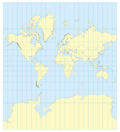 transverse: Very high detailed map of the world in Mercator projection with graticule. Centered in Europe and Africa. Elements of this image furnished by NASA Illustration