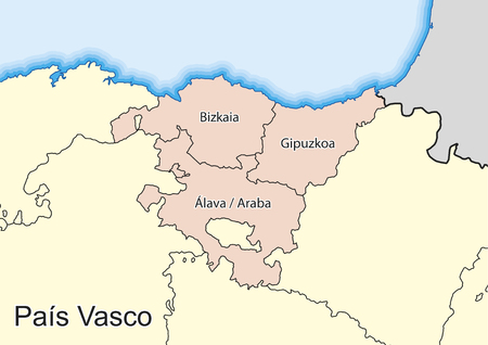 Vector map of the autonomous community of Basque Country (Pais Vasco) Spain. Elements of this image furnished by NASA.