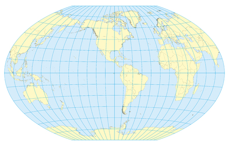 Very high detailed map of the world in Winkel Tripel projection with graticule. Centered in Americas. Elements of this image furnished by NASA Illustration