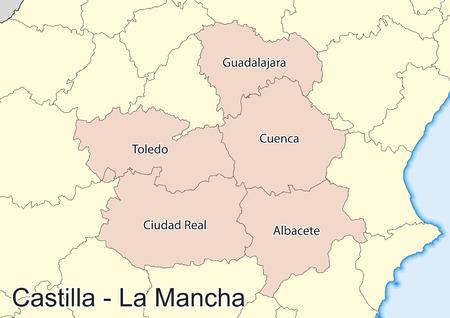 Vector map of the autonomous community of Castile La Mancha (Castilla La Mancha). Spain. Elements of this image furnished by NASA.