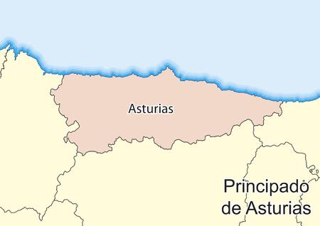 Vector map of Principality of Asturias (Principado de Asturias) Spain. Elements of this image furnished by NASA.