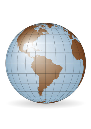 North America South America Europe And Africa Globe Vector