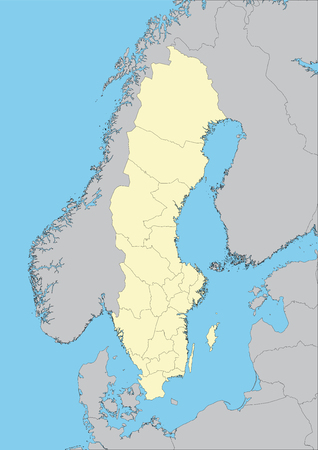 High detailed vector map of Sweden with provinces. Elements of this image furnished by NASA Illustration