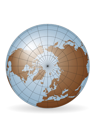 North Pole map. Europe, Greenland, Asia, America, Russia. Elements of this image furnished by NASA Illustration