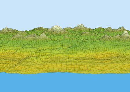 Retro style wireframe futuristic landscape with a mountain range, coast, sea and sky. technology concept. Vector illustration
