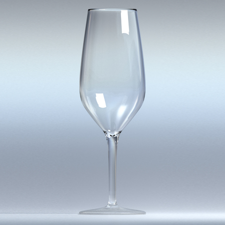 empty cup of wine made in clear glass. 3d render, 3d illustration Stock Photo