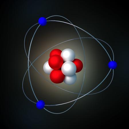 atomic structure with radiation over a black background. 3d render, 3d illustration