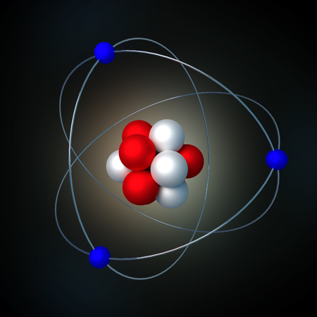 atomic structure with radiation over a black background. 3d render, 3d illustration