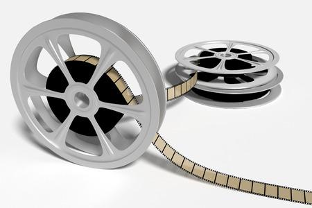 old film rolls used in cinema industry. 3d render, 3d illustration