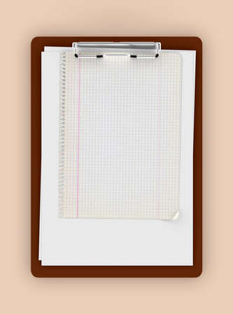 Classic Clipboard Template With Blank Pages And Graph Paper... Stock ...