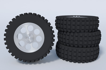 four truck tires. vehicle spare parts. 3d render, 3d illustration