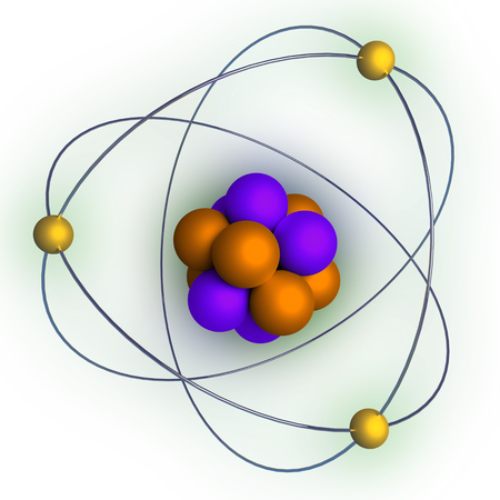 atomic structure with radiation over a white background. 3d render, 3d illustration