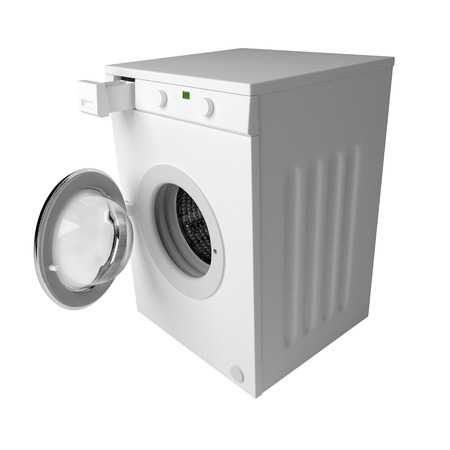 spinning: Domestic washing machine with open door ready to receive dirty clothes isolated over white. 3d render, 3d illustration
