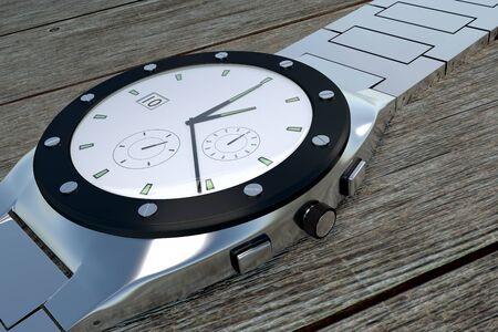 Silver luxury wristwatch over a wooden background. Watch. Clock. 3d render, 3d illustration