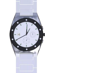 chrome: Silver luxury wrist watch isolated over a white background. Wristwatch. Clock. 3d render, 3d illustration Stock Photo