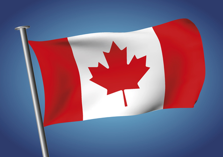 leafed: Canada flag waving on the sky. Canadian flag vector illustration. Maple leaf flag. the one leafed. unifolie. gradient mesh. EPS 10 Illustration