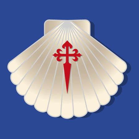 Ilustración vectorial de una vieira peregrina con cruz de santiago. Símbolo típico de peregrinación en el camino de Santiago