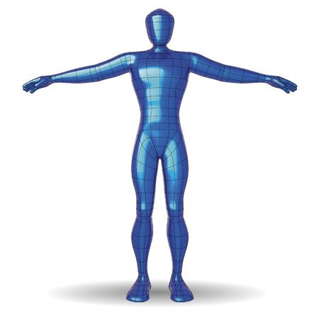 Futuristic wireframe man. Polish metallic paint material human figure. vector illustration