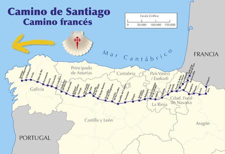 Kaart van Camino de Santiago. Kaart van Saint James weg met alle stadia van de Franse manier. Camino frances. vectorillustratie