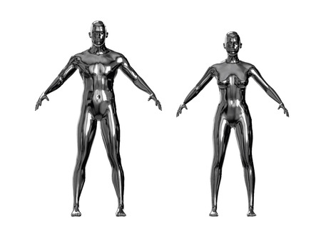 shiny metallic man and woman silver or chrome figures. vector illustration. autotraced