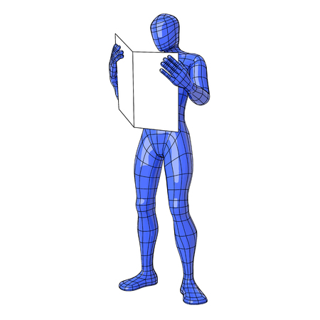 Futuristic wireframe human figure pointing with his hand to something or somebody near. vector illustration