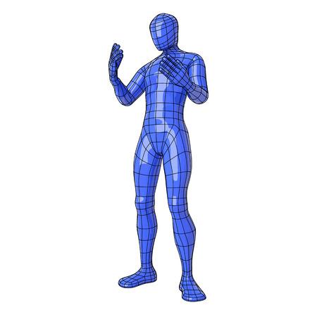 뭔가 또는 다른 누군가에 그의 손으로 가리키는 미래의 와이어 프레임 인간의 그림. 벡터 일러스트 레이 션