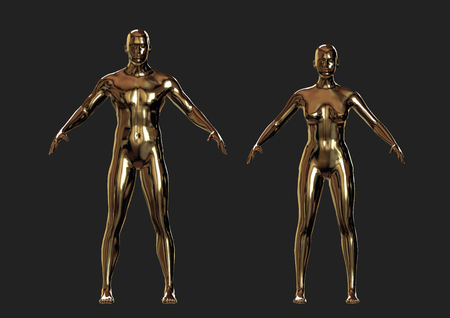 shiny metallic man and woman golden figures. vector illustration. autotraced