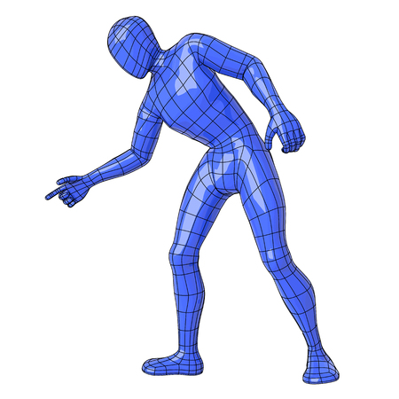 Futuristic wireframe human figure pointing down. vector illustration