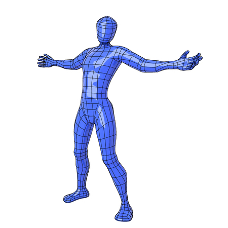 Futuristic wireframe human figure with open arms and hands. vector illustration Illustration