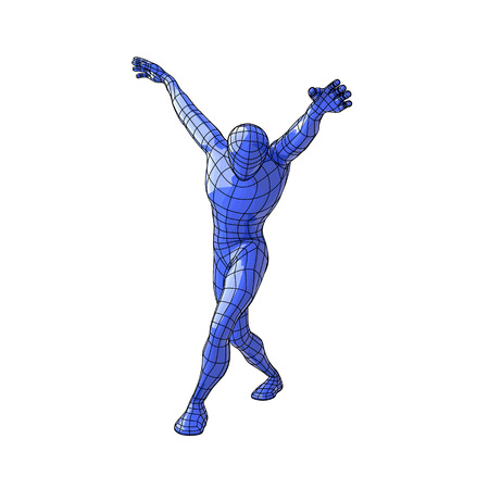up code: Futuristic wire mesh human figure walking with arms up and looking down like a dancer. vector illustration