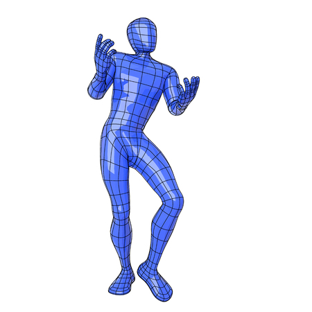 Futuristic wire mesh human figure Wireframe human figure declaiming and dancing as a medieval minstrel. vector illustration
