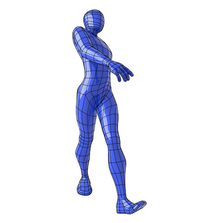 Futuristic wireframe human walking in a cool style with confidence. vector illustration