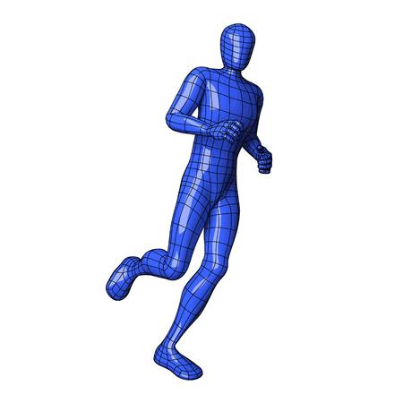 Futuristic wire mesh human figure running or jogging. Sportman. vector illustration