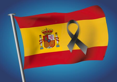 Spain flag with a black ribbon to commemorate and mourn the victims and dead people. Barcelona Spain sadness