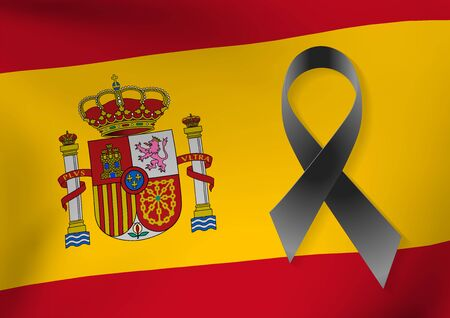 Background of Spain flag with a black ribbon to commemorate and mourn the victims and dead people. Barcelona. Spain sadness