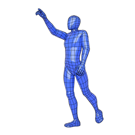 Futuristic wire mesh human figure asking for something with the hand. Sportman. vector illustration