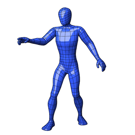 Futuristic wire mesh human figure about to touch something with his right index finger. vector illustration