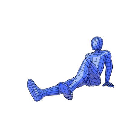 Futurista wireframe humano acostado en el suelo tomando el sol o bronceado. Ilustración vectorial