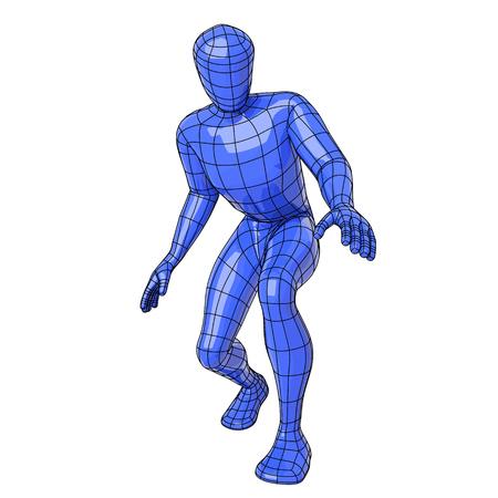agachado: Figura humana futurista de alambre se agachó para conseguir o buscar algo. ilustración vectorial