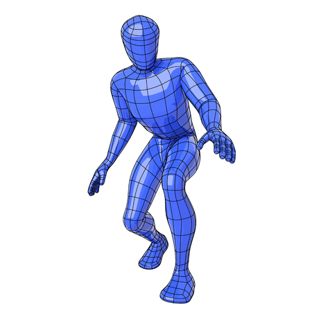 Futuristic wireframe human figure crouched down about to get or search for something. vector illustration
