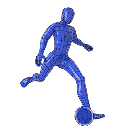 Futuristic wireframe human figure kicking a soccer ball. vector illustration