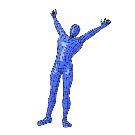 Futuristic wire mesh human figure stretching on the morning with open arms showing his happiness. Illustration