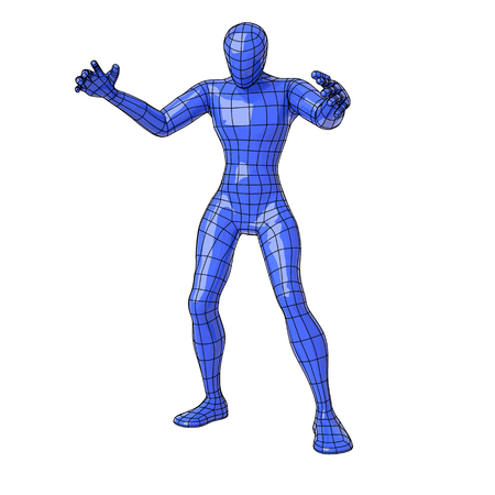 Futuristic wire mesh human figure in sorcerer pose making magic with open arms and looking down.