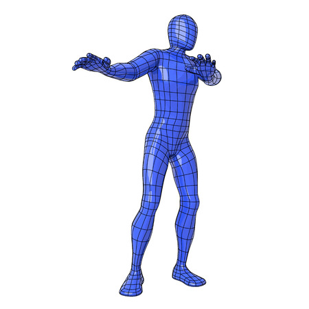 Futuristic wire mesh human figure with refusing, rejection, disgusting, or fear gesture.